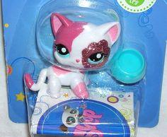 Littlest Pet Shop Sparkle Single #2291 Hot Pink Cat Kitten Kitty ~ NEW