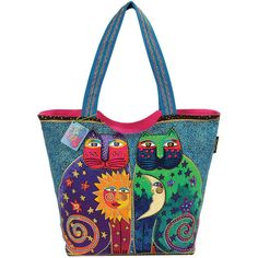 "Laurel Burch Scoop Tote Zipper Top 19.5""x5""x15""-Celestial Felines"