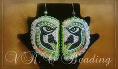 """NATIVE AMERICAN BEADWORK , Seattle Seahawk Earrings By Vanessa Rae Cawston of VR.C Beading.  Check out my page on Facebook: VR.C Beading """"Beadwork & Craft""""         Thank you for your support :)"""