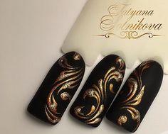 Seasonal Nails, Floral Nail Art, Fabulous Nails, Black Nails, Cool Nail Art, Winter Nails, Nail Art Designs, Acrylic Nails, My Style
