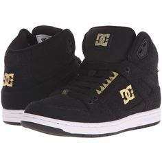 DC Rebound High TX SE (Black/White/Gold) Women's Skate Shoes ($80) ❤ liked on Polyvore featuring shoes, sneakers, tenis, zapatos, gold sneakers, grip trainer, high top trainers, hi top skate shoes and gold shoes