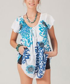 Another great find on #zulily! White & Blue Geometric Tie-Neck Tunic - Plus Too #zulilyfinds