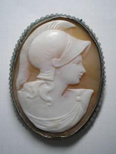 CAMEO   ATHENA Goddess of War Hand Carved Shell  Brooch by Cleoras, $200.00
