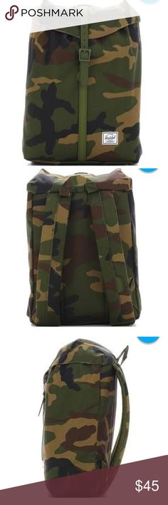 "Herschel Supply co. Post Backpack herschel supply co. post backpack camo. Interior laptop pocket and drawstring closure. Dimensions 13.5""(H) x 10.75""(W) x 5""(D), 16L. Used but in very good condition. Herschel Supply Company Bags Backpacks"