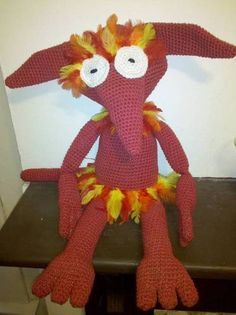 """This was a gift for my swap partner in the Labyrinth swap on craftster.org.. I crocheted this with no pattern and from one image that I could find in the movie, he stood 24"""" tall."""