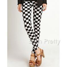$6.99 Mod Checkered Leggings Futuristic Leg Pants Tights - BornPrettyStore.com
