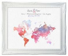 Wedding Guest Book Map  Watercolor Custom Map  Custom by luzdesign