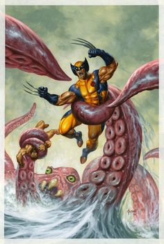 Wolverine/Hercules: Myths, Monsters & Mutants Cover: Trapped by a Sea Monster Marvel Comics Poster - 30 x 46 cm Marvel Wolverine, Marvel Comics, Marvel E Dc, Marvel Heroes, Marvel Universe, Comic Book Artists, Comic Books Art, Comic Art, X Men