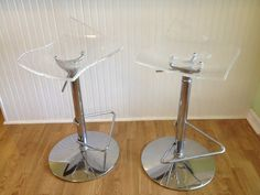 Mid Century Modern Lucite Swivel Bar Stools Pair by by modernlogic