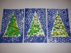 estampació paper de bombolles. collage arbre decorat