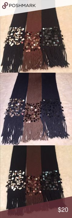 Woman's Set of Bling Scarfs Bundle New Black Brown New Without Tags Scarfs  2 Black  1 Brown  1 Black has Black Sequence  1 Black has Silver Sequence  1 Brown has Brown Sequence Accessories Scarves & Wraps