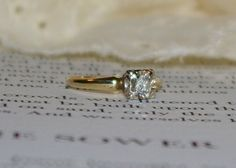 Pretty Vintage Diamond Engagement Ring 14k by StateofVintage, $299.99