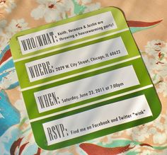 """Paint chip invitation - perfect for a housewarming party! I love this idea even if it involves """"stealing"""" a few chips from the store-- all you  need to add are the address labels! Cute!"""