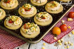 Honey Shortbread Bites with Smoky Cream Cheese, Sweet Corn & Tomatoes from @farmgirlsdabble