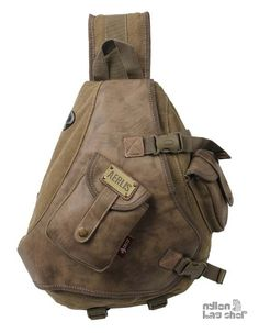 khaki One strap bookbag.  I'm looking for a new work bag.  I know that a slingback is similar to a backpack, which I don't like.  It's a better choice though.