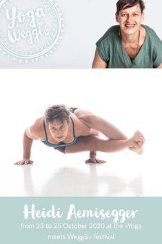 """FR 23.10.20 10:00 - 13:00 (EN) Workshop """"Connect to your inner light"""" SA 24.10.20 08:00 - 09.45 (EN) Ashtanga inspired Yoga Session 13.30 -15.15 Lecture Yoga (EN) Philosophie about the Yoga Sutra Dhyāyinī/Heidi war früher Choreographin und hat über zwanzig Jahre Bühnenerfahrung. Sie ist eine erfahrene Ashtanga und Jivamukti Yogalehrerin. Seit vielen Jahren studiert sie bei den weltbekannten Pranayama-Lehrern Sri O.P. Tiwari und Paul Dallaghan. Beide Lehrer haben zu ihrem breiten Wissen Yoga Festival, Beide, Pranayama, Workshop, Teacher, Movies, Movie Posters, Philosophy, Yoga Teacher"""