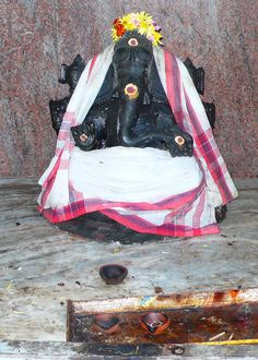 Shrine to Ganesh, remover of obstacles, at the temple in Chidambaram, Tamil Nadu, January 2012