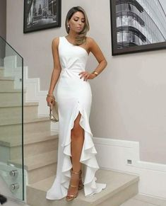 White One Shoulder Prom Dress, Split Pleat Satin Mermaid Prom Dresses, Wedding Party Dresses, Evening Party Gowns, 380 · Loveprom · Online Store Powered by Storenvy Formal Dresses For Women, Elegant Dresses, Beautiful Dresses, Dress Formal, White Formal Dresses, Elegant White Dress, Awesome Dresses, Formal Dresses For Weddings, Formal Prom