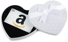 Amazon $50 Gift Card in a White Heart Tin (Classic White Card Design): Amazon.com: Gift Cards