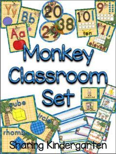 monkey classroom printables Library Labels, Library Organization, Classroom Setting, Classroom Decor, Orange Red, Red Purple, Blue Green, Yellow, Teaching Sight Words