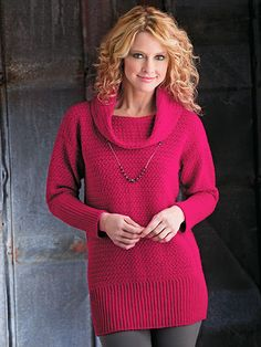 Cranberry Sweater Tunic Crochet Pattern Download from e-PatternsCentral.com -- Gorgeous cranberry red is the season's standout shade, and cowl-neck sweaters continue to be a hot fashion trend. Both color and style are beautifully combined in this flattering tunic-length sweater.