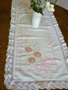 Embroidered Dresser Scarf, Vanity Table Top, Table Runners, Hand Embroidered Scarves with Lace Edge, Pink Bow, Baby Nursery Girl's Bedroom by chloeswirl on Etsy