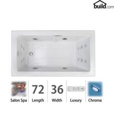 "Jacuzzi ELA7236CLR4CHWW White / White Trim Elara 72"" x 36"" Acrylic Air / Whirlpool Bathtub for Drop-In Installations with Left Drain, Chromatherapy Lighting, Heater, and Luxury Controls --6000"