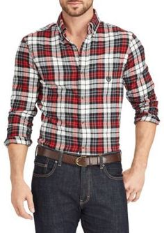 Chaps Men's Big And Tall Long Sleeve Flannel Plaid Button Down Shirt - White Sand - 3Xlt
