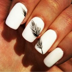 White nails with a black feather for ME 2.0 - All White Party