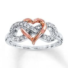 An infinity symbol adorned in round diamonds intertwines with a heart crafted of rose gold in this romantic ring for her. Styled in sterling silver, the ring has a total diamond weight of carat. Diamond Total Carat Weight may range from - carats. Cute Rings, Pretty Rings, Gold Gold, Bling Bling, Diamond Jewelry, Gold Jewelry, Craft Jewelry, Jewelry Rings, Jewlery