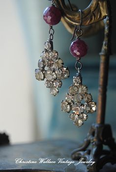 Rubies and Rhinestones by ChristineWallace   [a way to repurpose old rhinestone clip on earrings]