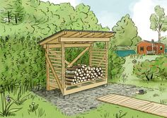 outdoor firewood rack - Check out these super easy DIY outdoor firewood racks. You can store your wood clean and dry and it allows you to buy wood in bulk, saving you money. Learn how. Outdoor Firewood Rack, Firewood Storage, Buy Wood, Backyard, Patio, Home Remodeling, Diys, Easy Diy, Cool Designs