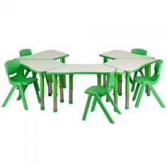 Green Trapezoid Plastic Activity Table Configuration with 5 School Stack Chairs  Flash Furniture has selling green trapezoid plastic activity table configuration with 5 school stack chairs  product with good quality at best price. Flash Furniture green #trapezoid plastic activity #table configuration with 5 school stack chairs has one of the most popular and high rank product under mobility