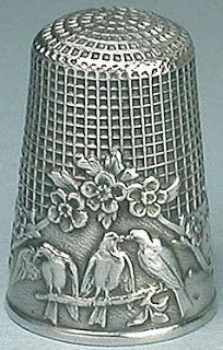 Antique French Sterling Silver Fable Thimble