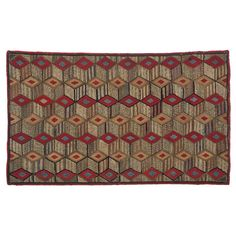 Tumbling Blocks Pattern Hooked Rug   From a unique collection of antique and modern north and south american rugs at https://www.1stdibs.com/furniture/rugs-carpets/north-and-south-american/