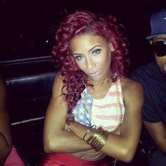 Curly burgundy hair << #Cute love the color