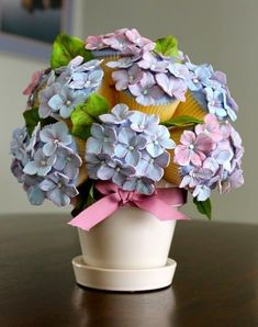 Cake Wrecks - Sunday Sweets: A Peck of Pastel Pretties I didn't realize this was made out of cupcakes until I read the description ! Hydrangea Cupcakes, Floral Cupcakes, Pretty Cupcakes, Beautiful Cupcakes, Cupcake Bouquets, Hydrangea Bouquet, Cupcake Flower, Hydrangeas, Amazing Cupcakes