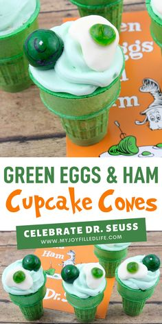 If you are looking for a Dr. Seuss-inspired treat, look no further than these adorable Green Eggs & Ham cupcakes! You will impress kids, and adults, with this easy-to-make dessert. #greeneggsandham #drseuss #cupcakes