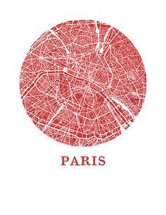Onze Parijs kaart afdrukken illustreert de geografie en de patronen van deze…