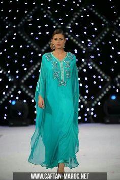 gandura soie | Gandoura femme de tendance en mousseline et satin de soie Caftan-Maroc