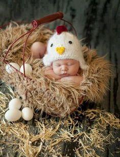 """Newborn Baby; crocheted """"chicken"""" hat; photo prop;"""
