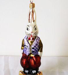 Vintage Christopher Radko Glass Christmas Tree Ornament Shimmering Cute Bunny