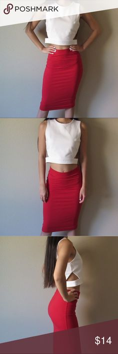 Red Pencil Skirt Red pencil skirt is in great condition! Just needs standard ironing. Perfect for office wear and the everyday business woman. Size is S! No stains, tears, or signs of wear. Not sure what fabric is but stretchy and compliments figure. Also selling top if interested! Skirts Pencil
