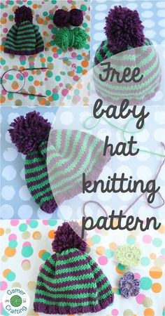 Free from me to you! This easy baby hat knitting pattern is available in 3 sizes for babies from 0 - 18 months.