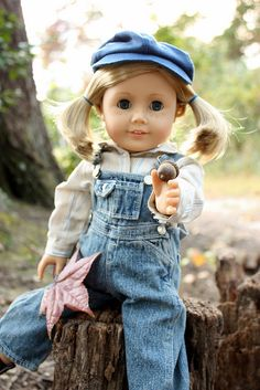 American Girl Doll in jeans overalls  I have to try and make this for kit.