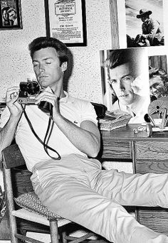 Clint Eastwood. I love that he has pictures of himself on his dresser.