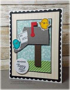 """airbornewife's stamping spot: TupeloDesignsLLC Card Project """"SENDING HAPPY MAIL"""" using Lawn Fawn Love Letters & Happy Mail stamps/dies!!"""