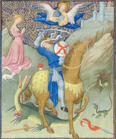 Manuscript MET Belles Heures of Jean de Berry Folio Dating From Paris, France Holding Institution Metropolitan Museum . Medieval Horse, Medieval Art, Medieval Life, Perseus And Medusa, Saint George And The Dragon, Culture Art, Saint Georges, The Cloisters, Book Of Hours