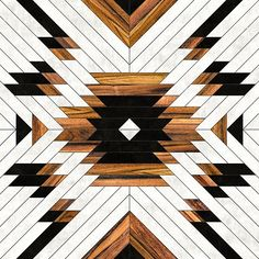 Urban Tribal Pattern 5 - Aztec - Concrete and Wood