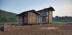 Hut to Hut concept by Rintala Eggertsson Architects - An ecotourism concept for the state of Karnataka, India Sustainable Architecture, Sustainable Design, Architecture Details, Modern Architecture, Hut Images, Small Buildings, Affordable Housing, Green Building, Building Ideas